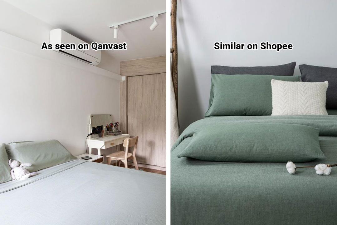 Shopee Home Qanvast's Picks Scandinavian Sage Green Bedsheets
