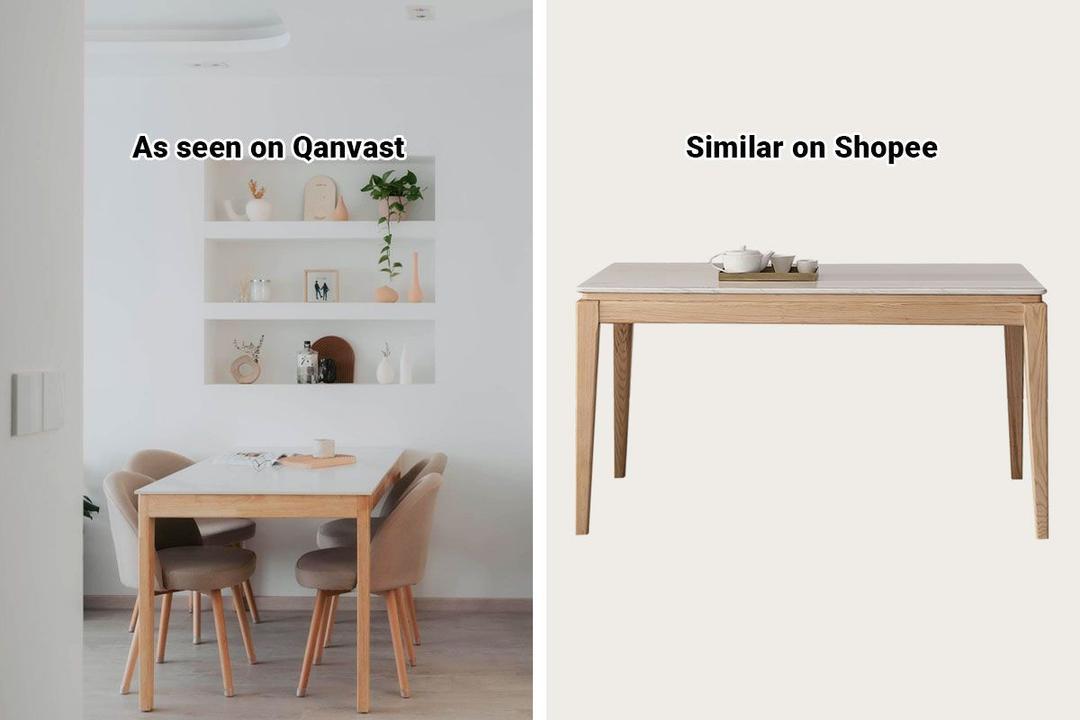 Shopee Home Qanvast's Picks Scandinavian Marble Dining Table