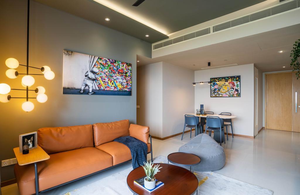 Contemporary, Condo, Living Room, Marina Bay Residences, Interior Designer, Livspace, Industrial
