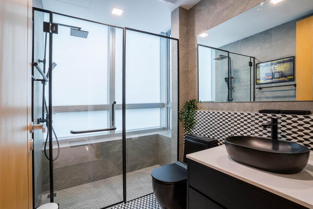 Contemporary, Condo, Bathroom, Marina Bay Residences, Interior Designer, Livspace, Industrial