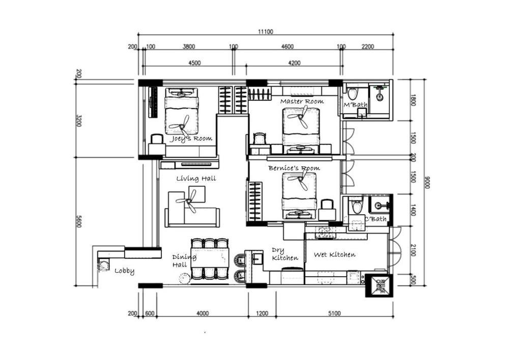 Minimalist, HDB, Serangoon Avenue 3, Interior Designer, Triz Arte, 4 Room Hdb Floorplan, 4 Room Simplified Corridor End, Final Floorplan