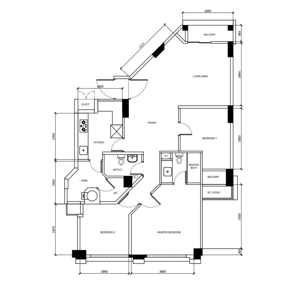 Contemporary, Condo, Santa Fe Mansions, Interior Designer, Archive Design, 3 Bedder Condo Floorplan, Original Floorplan