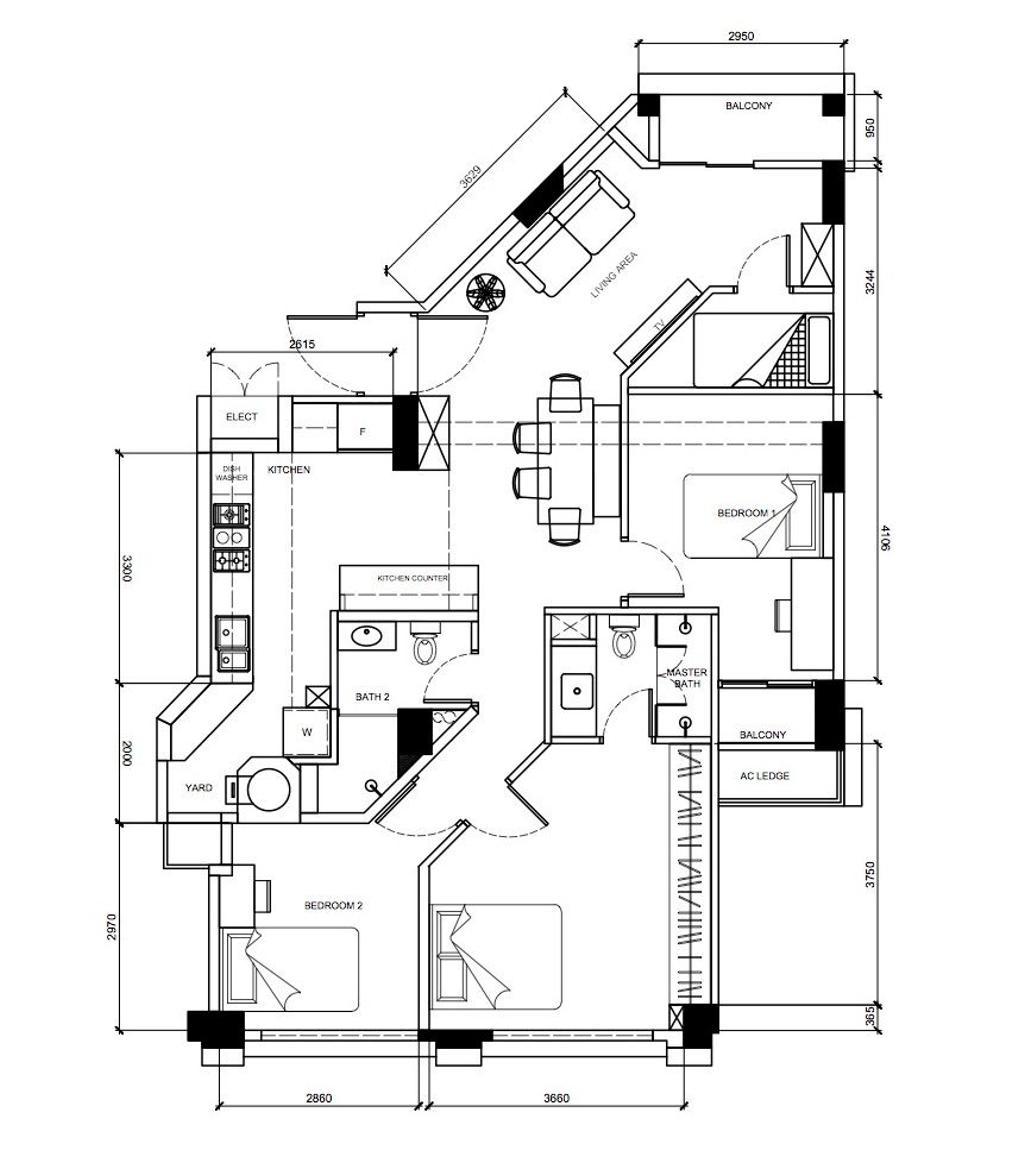 Contemporary, Condo, Santa Fe Mansions, Interior Designer, Archive Design, 3 Bedder Condo Floorplan, Final Floorplan