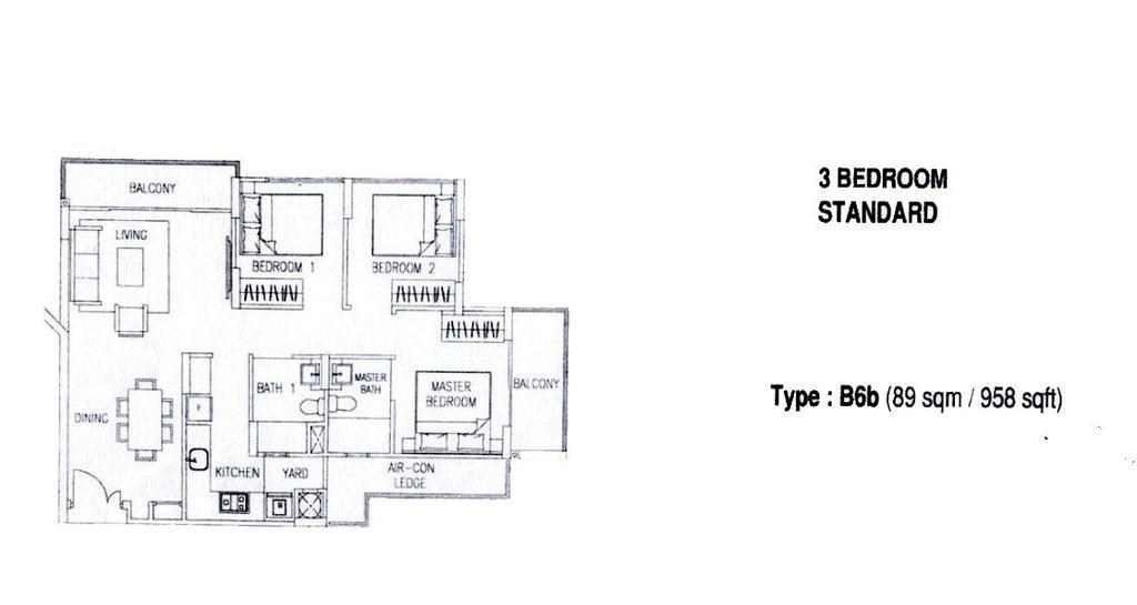 Contemporary, Condo, Watercolours, Interior Designer, Chapter 3, 3 Bedder Condo Floorplan, Type B 6 B, Original Floorplan