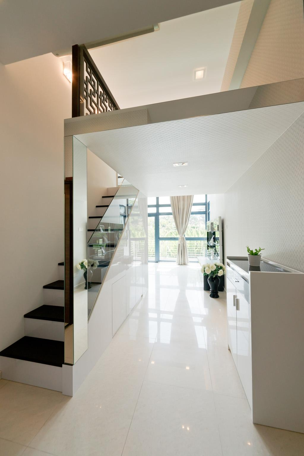 Transitional, Condo, City Square Residences, Interior Designer, Unity ID, Stairs, Staircase, Columns, Mirror, Marble Tile, Marble Tiles, White, Loft, Full Length Windows, Curtains, Cabinet, Railing, Glass Railing, Handrail