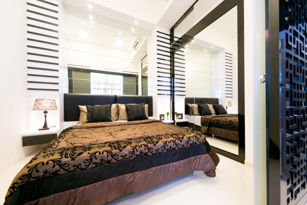 Transitional, Condo, Bedroom, City Square Residences, Interior Designer, Unity ID, Master Bedroom, Stripes, Striped Wall, Lamp, Nightstand, Side Table, Mirror, Full Length Mirror, White, Neutral, Oriental, Partition, Stripe
