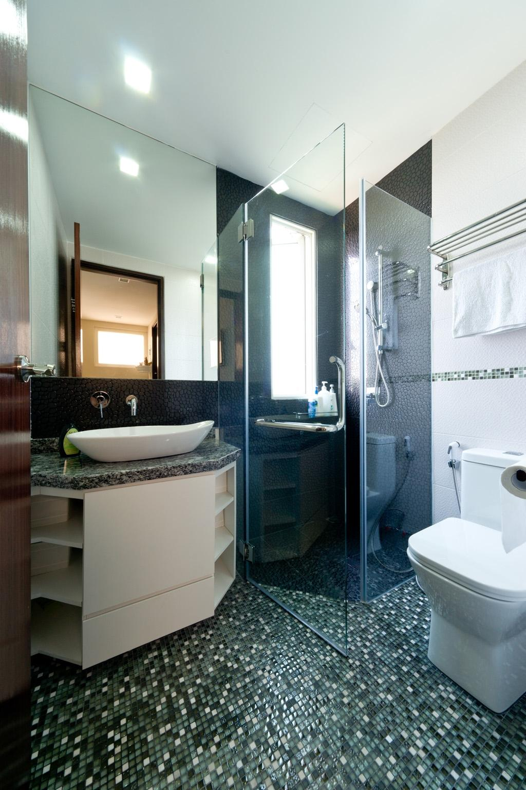 Eclectic, Condo, Bathroom, Country Park @ Bedok Road, Interior Designer, Unity ID, Mosaic Tiles, Mosaic, Glass Cubicle, Bathroom Counter, Mirror, White, Green, Vessel Sink, Marble Counter