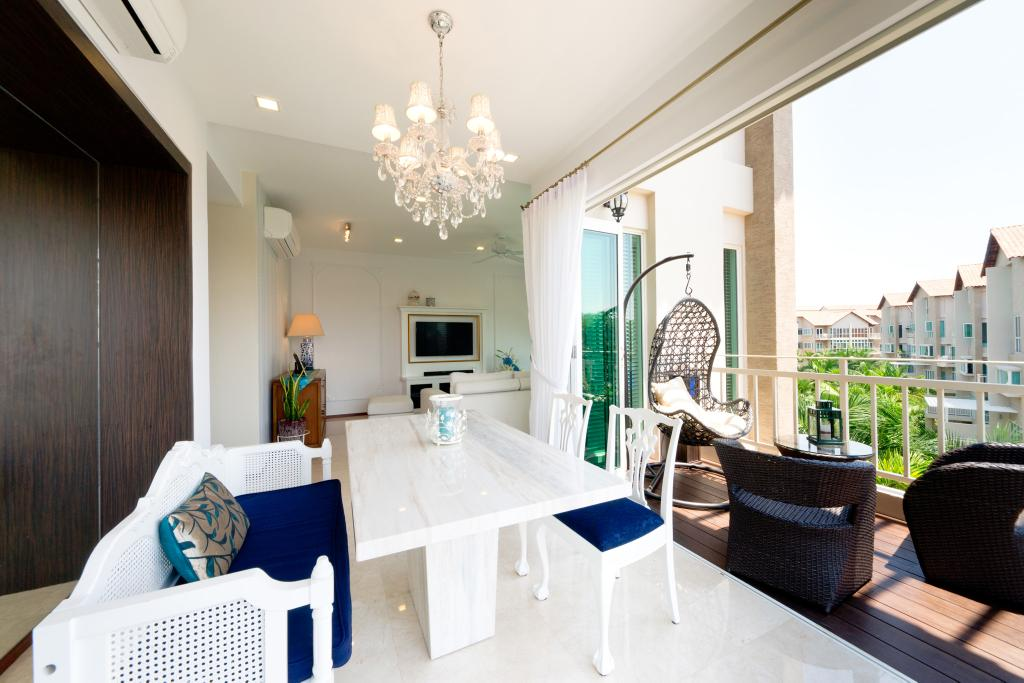 Eclectic, Condo, Dining Room, Country Park @ Bedok Road, Interior Designer, Unity ID, Balcony, Dining Table, Chiar, Sofa, Hanging Chair, Lighting, Chandelier, Railing, Balustrade, Wood Laminate, Wood, Laminate, White, Deck Flooring, Rattan, Woodwork, Airy