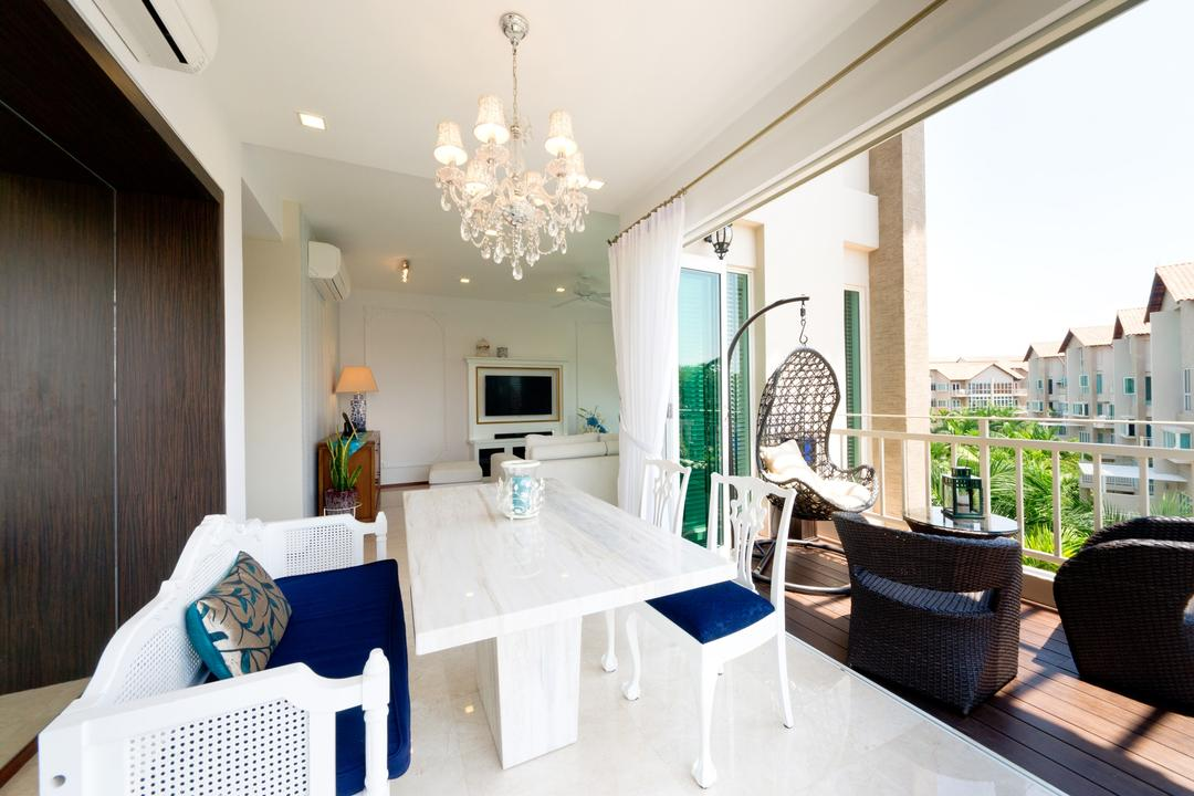 Country Park @ Bedok Road, Unity ID, Eclectic, Dining Room, Condo, Balcony, Dining Table, Chiar, Sofa, Hanging Chair, Lighting, Chandelier, Railing, Balustrade, Wood Laminate, Wood, Laminate, White, Deck Flooring, Rattan, Woodwork, Airy