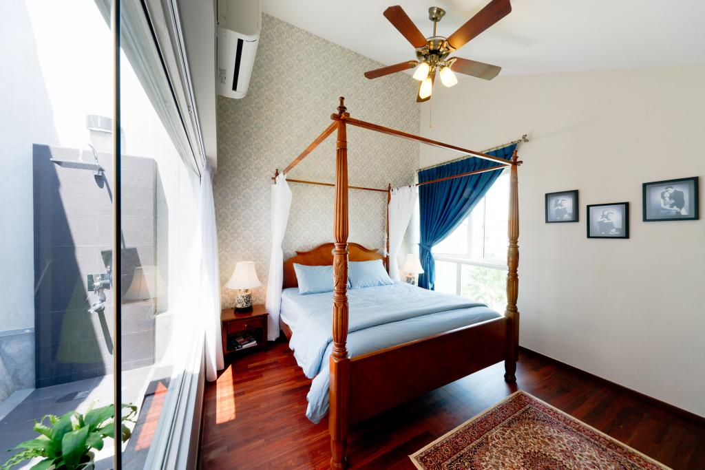 Eclectic, Condo, Bedroom, Country Park @ Bedok Road, Interior Designer, Unity ID, Four Poster Bed, Ceiling Fan, Rug, Hanging Light, Lighting, Lamp, Side Table, Night Stand, Beige, Slanted Ceiling, Wallpaper, Painting, Full Length Windows, Parquet, Canopy Bed