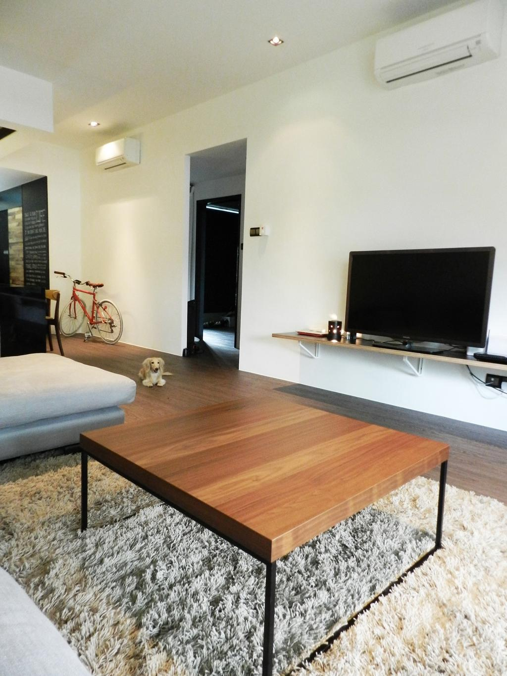 Scandinavian, Condo, Living Room, Eastwood Green, Interior Designer, Habit, Rug, Table, Coffee Table, Chair, Sofa, Bicycle, Tv Console, Woodwork, Wood, Laminate, Wood Laminate, White, Parquet, Bike, Transportation, Vehicle, Electronics, Lcd Screen, Monitor, Screen, Indoors, Room, Flooring