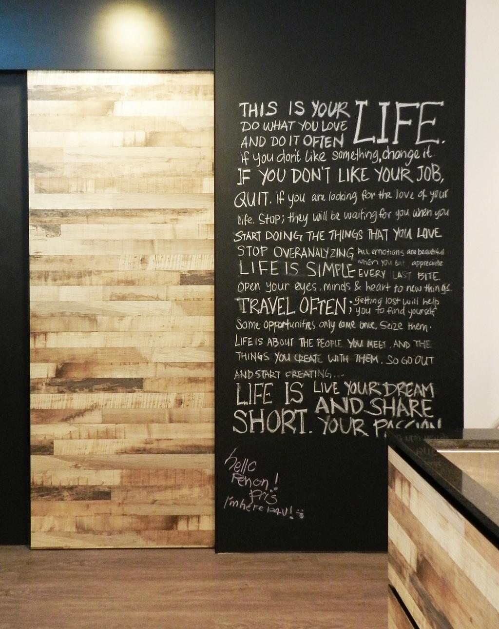 Scandinavian, Condo, Eastwood Green, Interior Designer, Habit, Parquet Wall, Parquet, Wood, Laminate, Wood Laminate, Feature Wall, Chalkboard, Blackboard