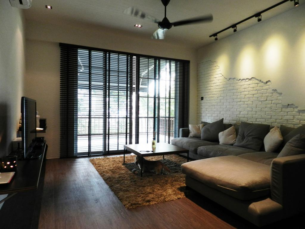 Scandinavian, Condo, Living Room, Eastwood Green, Interior Designer, Habit, Track Lighting, Whitewashed Brick, White Brick Wall, Brick Wall, Sofa, Chair, Table, Coffee Table, Parquet, Full Length Windows, Ceiling Fan, Venetian Blinds, Rug, Tv Console, Raw, Feature Wall, Couch, Furniture