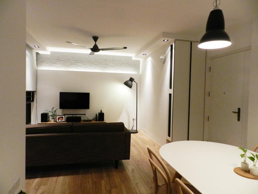 Scandinavian, HDB, Dining Room, Eunos Crescent, Interior Designer, Habit, Hanging Light, Light Fixture, Plywood, Wood, Electronics, Monitor, Screen, Tv, Television, Indoors, Interior Design
