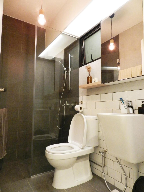 Scandinavian, HDB, Bathroom, Eunos Crescent, Interior Designer, Habit, White Brick Wall, Brick Wall, Vessel Sink, Mirror, Hanging Light, Glass Cubicle, Tile, Tiles, Shelf, Shelves, Indoors, Interior Design, Room