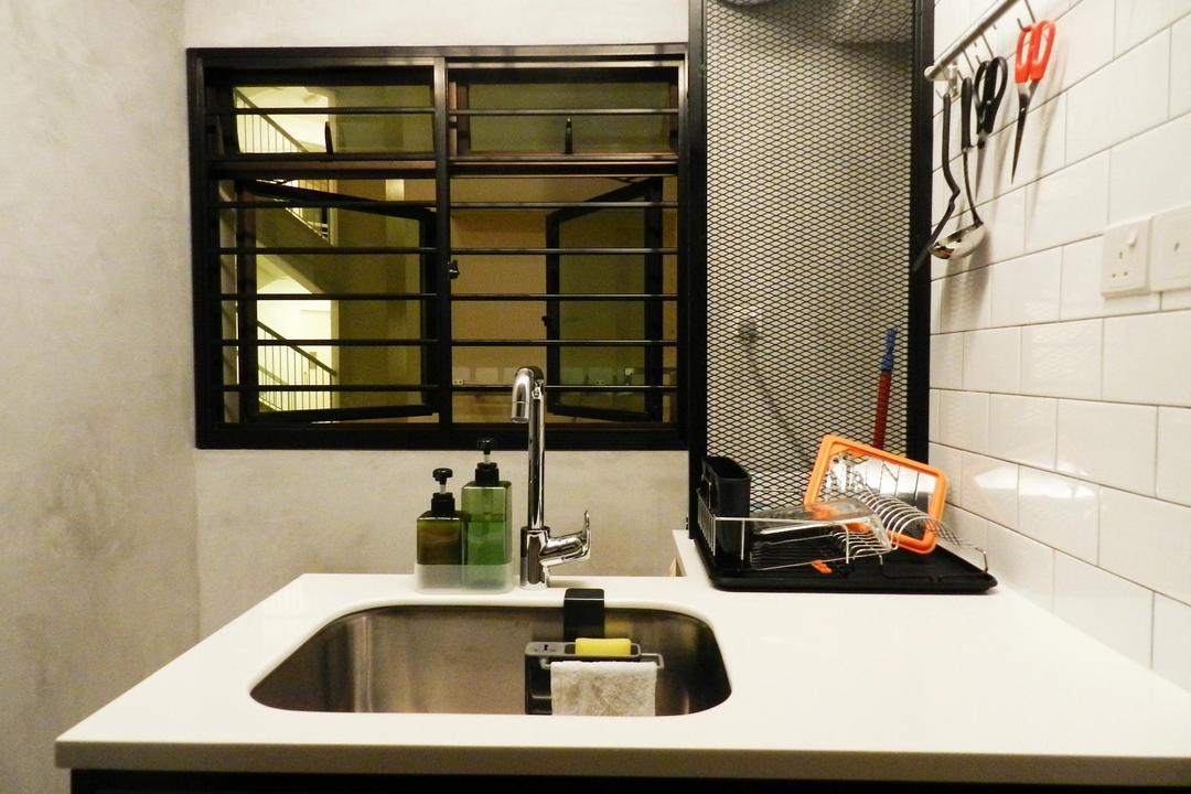 Eunos Crescent, Habit, Scandinavian, Kitchen, HDB, White Brick Wall, Brick Wall, Grill, Kitchen Counter, Indoors, Interior Design, Bathroom, Room, Balcony