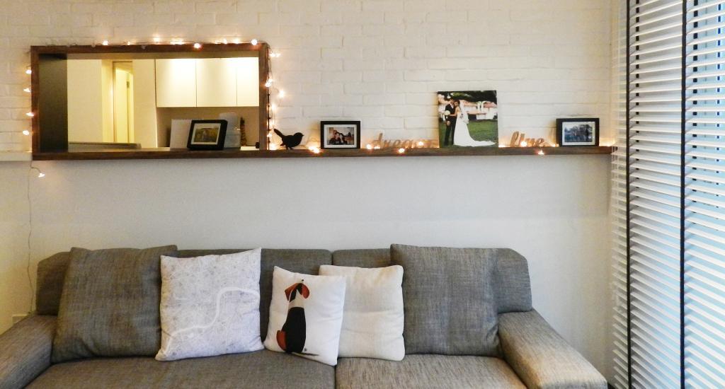 Scandinavian, Condo, Living Room, The Esparis, Interior Designer, Habit, Venetian Blinds, Sofa, Brick Wall, Whitewashed Brick, White Brick Wall, Raw, Cushions, Chair, Cute Out Wall, Shelf, Shelves, Fireplace, Hearth, Couch, Furniture, Cushion, Home Decor
