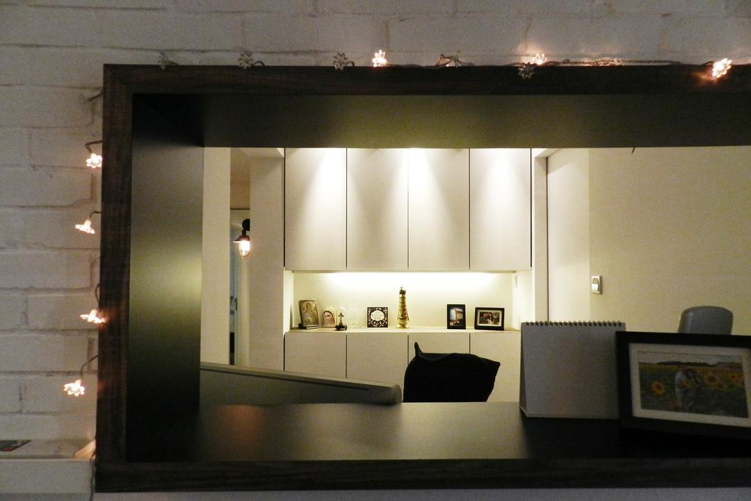 The Esparis, Habit, Scandinavian, Condo, Brick Wall, White Brick Wall, Whitewashed Brick, Cut Out Wall, Wood, Laminate, Wood Laminate, Shelf, Shelves, Cabinet, Storage, Display Shelf