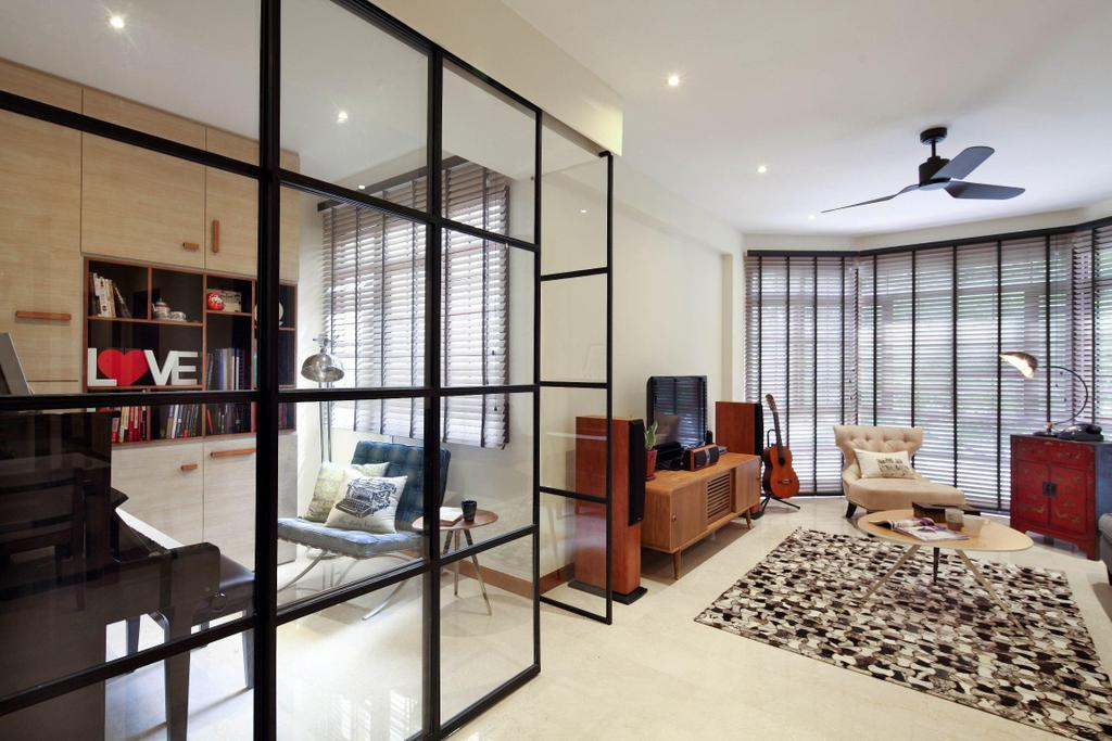 Transitional, Condo, Study, Casafina, Interior Designer, Fuse Concept, Ceiling Fan, Venetian Blinds, Full Length Windows, Rug, Coffee Table, Table, Guitar, Lamp, Tv Console, Cabinet, Glass Wall, Wood Laminate, Wood, Laminate, Display Unit, Piano, Chair, Furniture
