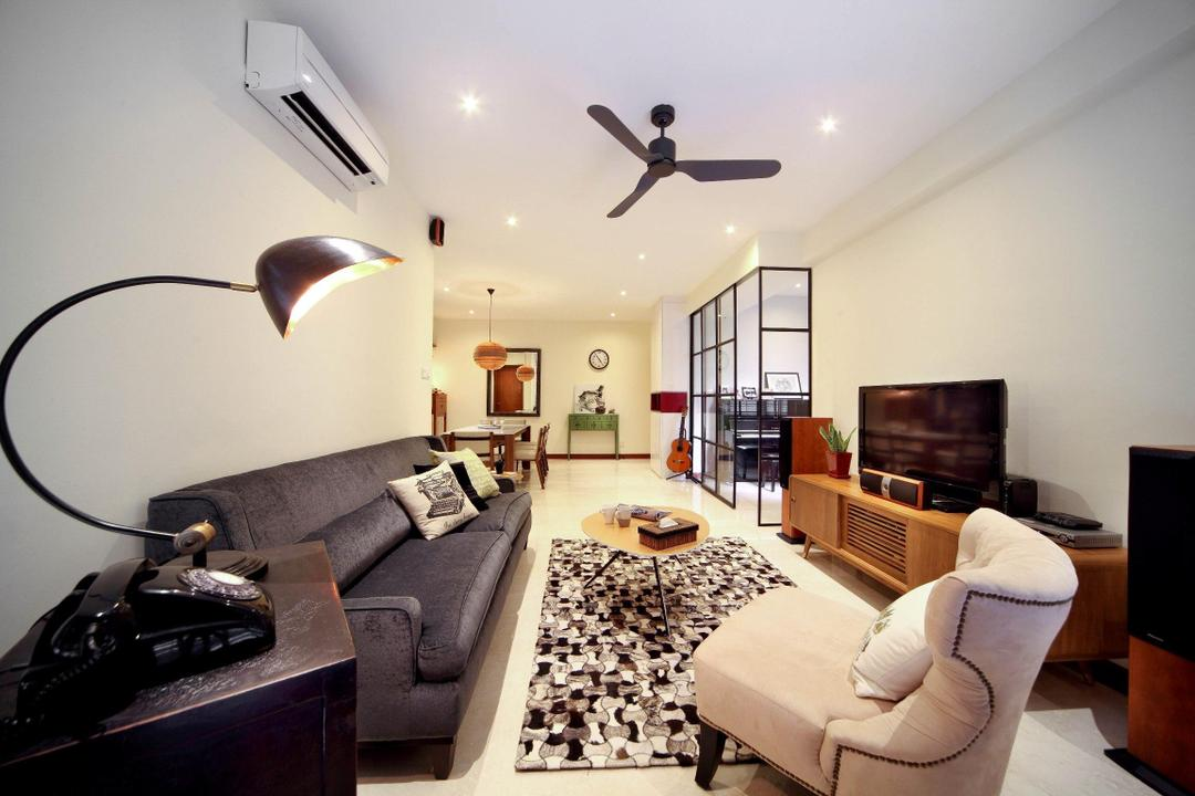Casafina, Fuse Concept, Transitional, Living Room, Condo, Ceiling Fan, Rug, Lamp, Chair, Sofa, Table, Coffee Table, Tv Console, Glass Wall, Hanging Light, Pendant Light, Telephone, Couch, Furniture