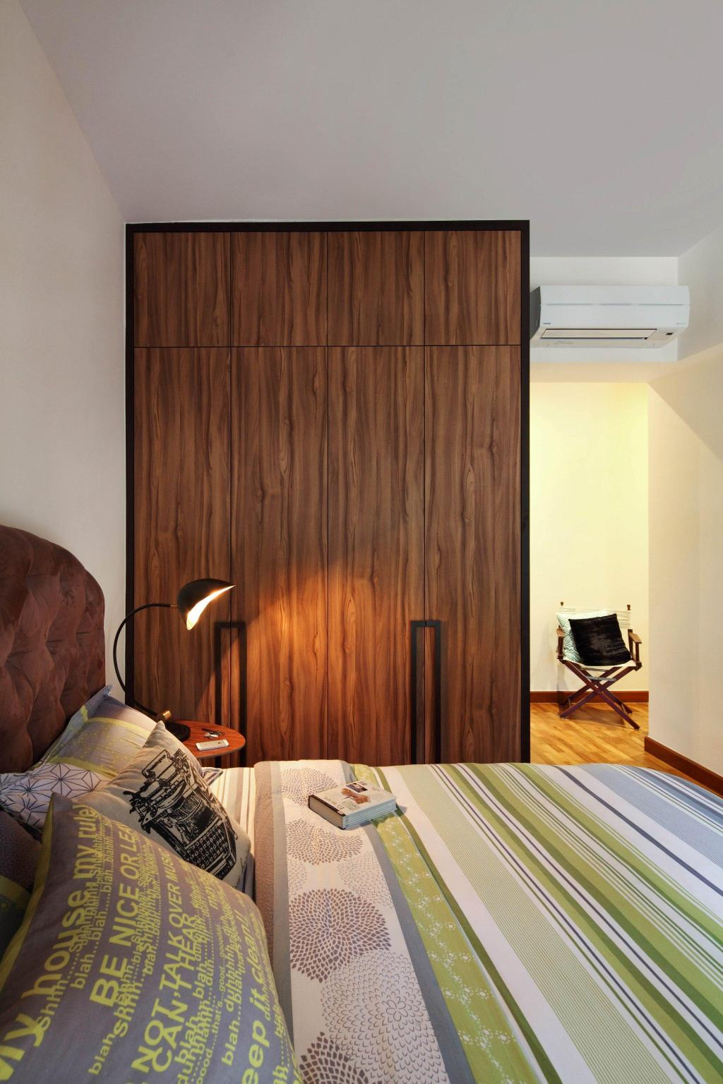 Transitional, Condo, Bedroom, Casafina, Interior Designer, Fuse Concept, Lamp, Quilted Headboard, Tufted Headboard, Headboard, Closet, Wardrobe, Parquet, Chair, Warm Tones