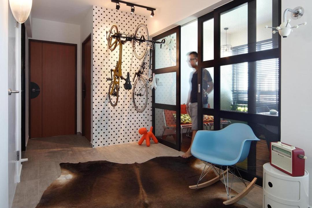 Ghim Moh Link, Fuse Concept, Scandinavian, Living Room, HDB, Bicycle, Rug, Rocking Chair, Chair, Parquet, Side Table, Table, Feature Wall, Track Lighting, Wall Lamp, Sculpture, Eero Aarnio Puppy, Sliding Doors, Glass Sliding Doors, Doors, Full Length Windows, Wall Sculpture, Furniture