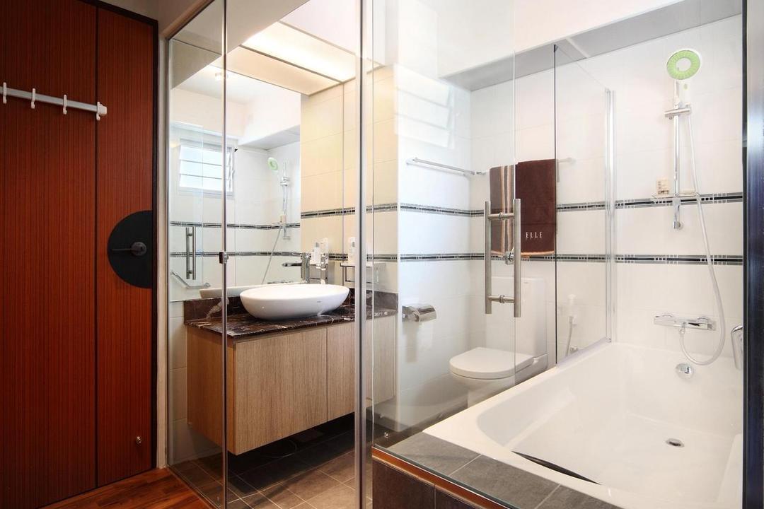Ghim Moh Link, Fuse Concept, Scandinavian, Bathroom, HDB, Glass Wall, Bathtub, Vessel Sink, Above Counter Sink, Mirror, Tile, Tiles, Parquet, Indoors, Interior Design, Room