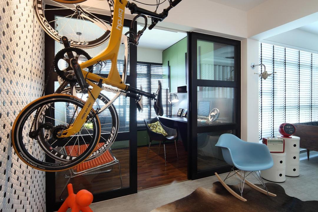 Ghim Moh Link, Fuse Concept, Scandinavian, Living Room, HDB, Bicycle, Rug, Parquet, Feature Wall, Eero Aarnio Puppy, Track Lighting, Full Length Windows, Venetian Blinds, Rocking Chair, Side Table, Table, Wall Sculpture, Chair, Furniture, Bike, Transportation, Vehicle