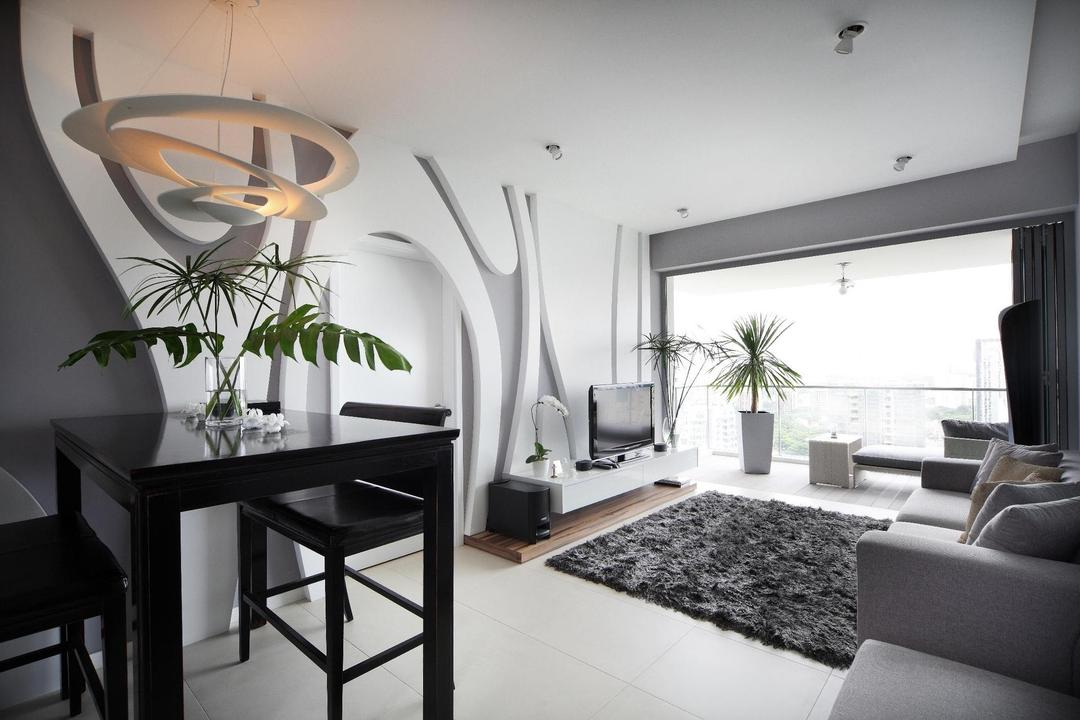 Pavilion, Fuse Concept, Modern, Living Room, Condo, Feature Wall, Balcony, Plants, Tv Console, Sofa, Rug, Platform, Dining Table, Chair, Table, White, Glass Railing, Railing, Balustrade, Glass Balustrade, Hanging Light, Pendant Light, Grayscale, Flora, Jar, Plant, Potted Plant, Pottery, Vase, Dining Room, Indoors, Interior Design, Room, Furniture, Couch