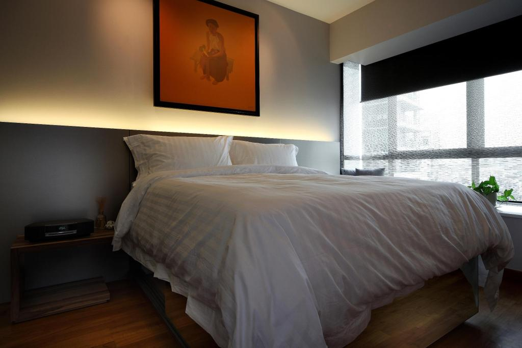 Modern, Condo, Bedroom, Pavilion, Interior Designer, Fuse Concept, Painting, Parquet, Side Table, Table, Night Stand, Woodwork, Wood, Laminate, Wood Laminate, Blinds, Concealed Lighting, Indoors, Interior Design, Room, Art