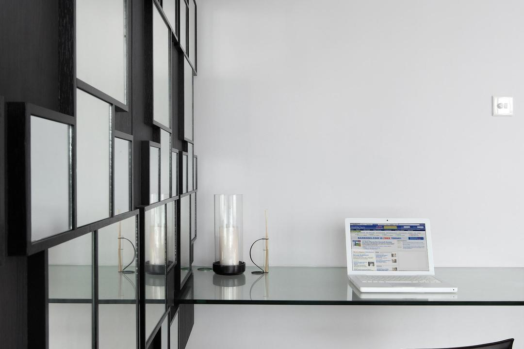 Pavilion, Fuse Concept, Modern, Study, Condo, Feature Wall, Mirror, Glass Table, Table, Chair, Parquet, Barstool, Candle Holder, Computer, Electronics, Laptop, Pc