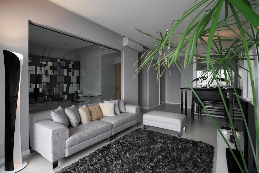 Modern, Condo, Living Room, Pavilion, Interior Designer, Fuse Concept, Standing Lamp, Sofa, Chair, Rug, Footstool, Leg Rest, Plants, Glass Wall, Feature Wall, Monochrome, HDB, Building, Housing, Indoors, Loft, Room, Furniture