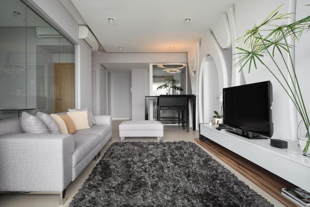 Modern, Condo, Living Room, Pavilion, Interior Designer, Fuse Concept, Sofa, Chair, Rug, Plants, Tv Console, Platforms, Leg Rest, Footstool, Feature Wall, Glass Wall, Monochrome, Electronics, Lcd Screen, Monitor, Screen, Couch, Furniture, Dill, Flora, Food, Plant, Seasoning, Indoors, Room