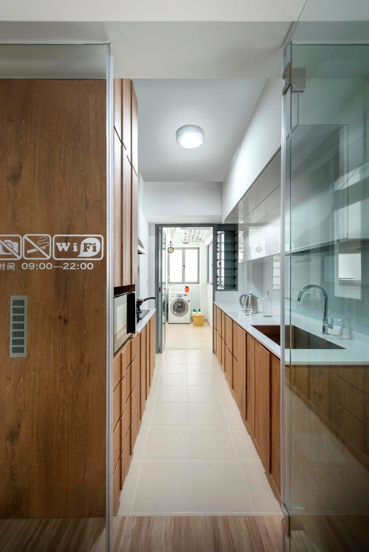 Transitional, HDB, Kitchen, Punggol Walk, Interior Designer, Fuse Concept, Glass Wall, Wall Sticker, Parquet, Kitchen Counter, Window Shutters, Shutters, Wood Laminate, Wood, Laminate, Sink