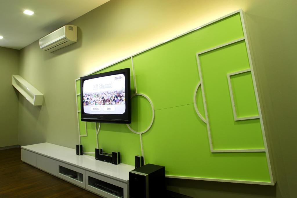 Modern, Landed, Living Room, Serangoon Gardens, Interior Designer, Fuse Concept, Shelf, Shelves, Feature Wall, Tv Console, Parquet