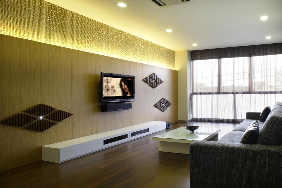Serangoon Gardens, Fuse Concept, Modern, Living Room, Landed, Feature Wall, Mosaic Tiles, Mosaic, Concealed Lighting, Shiny, Wall Art, Wood Laminate, Tv Console, Full Length Windows, Sofa, Chair, Coffee Table, Table, Parquet, Wood, Laminate, Indoors, Interior Design, Couch, Furniture
