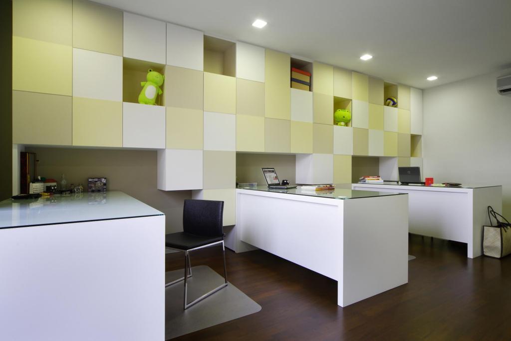Modern, Landed, Study, Serangoon Gardens, Interior Designer, Fuse Concept, Parquet, Cubbyholes, Study Table, Table, Chair, Mat, Indoors, Room