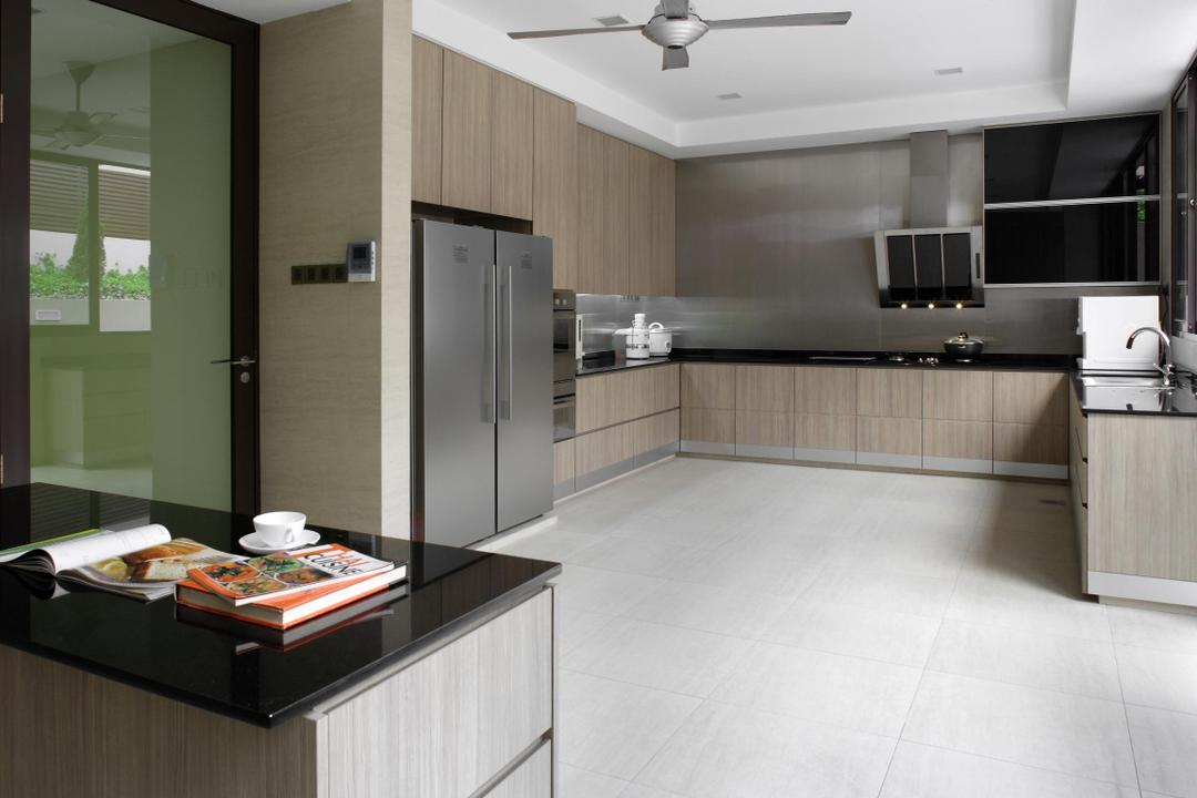 Serangoon Gardens, Fuse Concept, Modern, Kitchen, Landed, Kitchen Counter, Exhaust Hood, Wood Laminate, Wood, Laminate, Ceiling Fan, Frosted Doors, Frosted Glass, Indoors, Interior Design, Room, Curtain, Home Decor, Window, Window Shade
