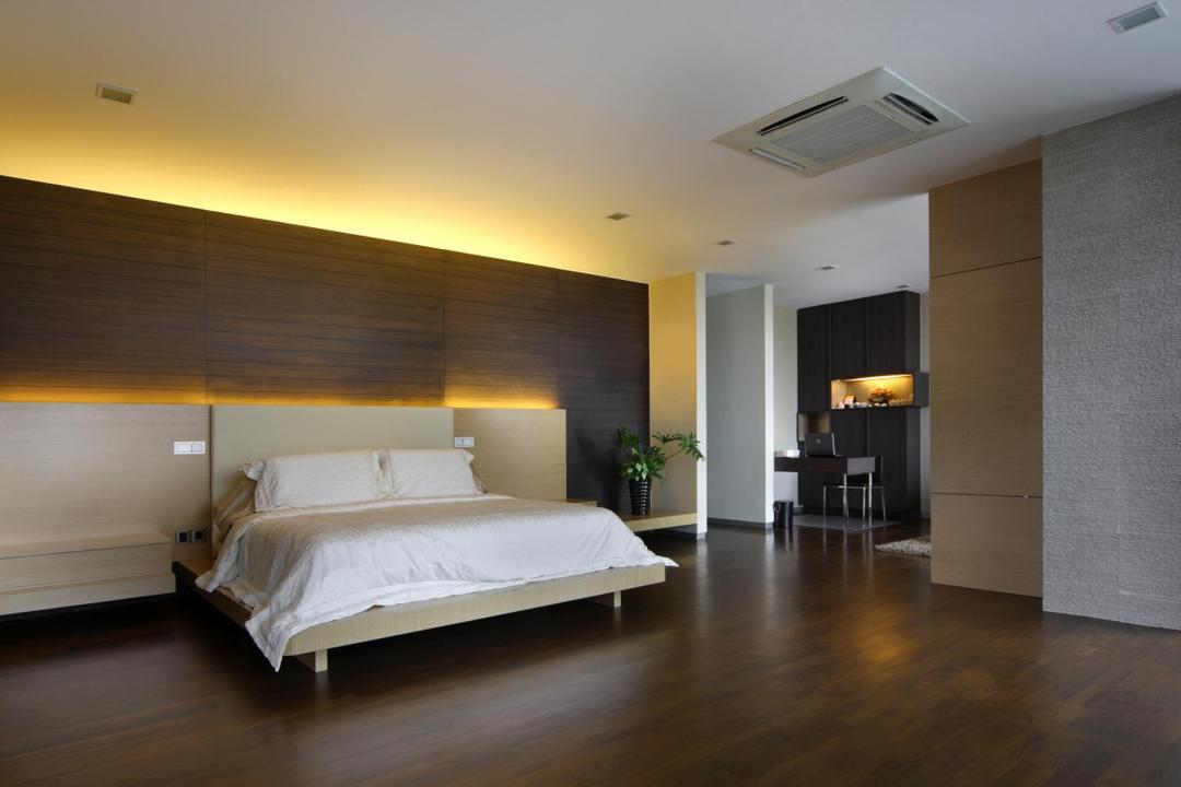 Serangoon Gardens, Fuse Concept, Modern, Bedroom, Landed, Parquet, Concealed Lighting, Plank Wall, Wood Laminate, Wood, Laminate, Headboard, Plants, Night Stand, Side Table, Mounted Table, Partition, Columns, Spacious, Stacco Wall, Raw
