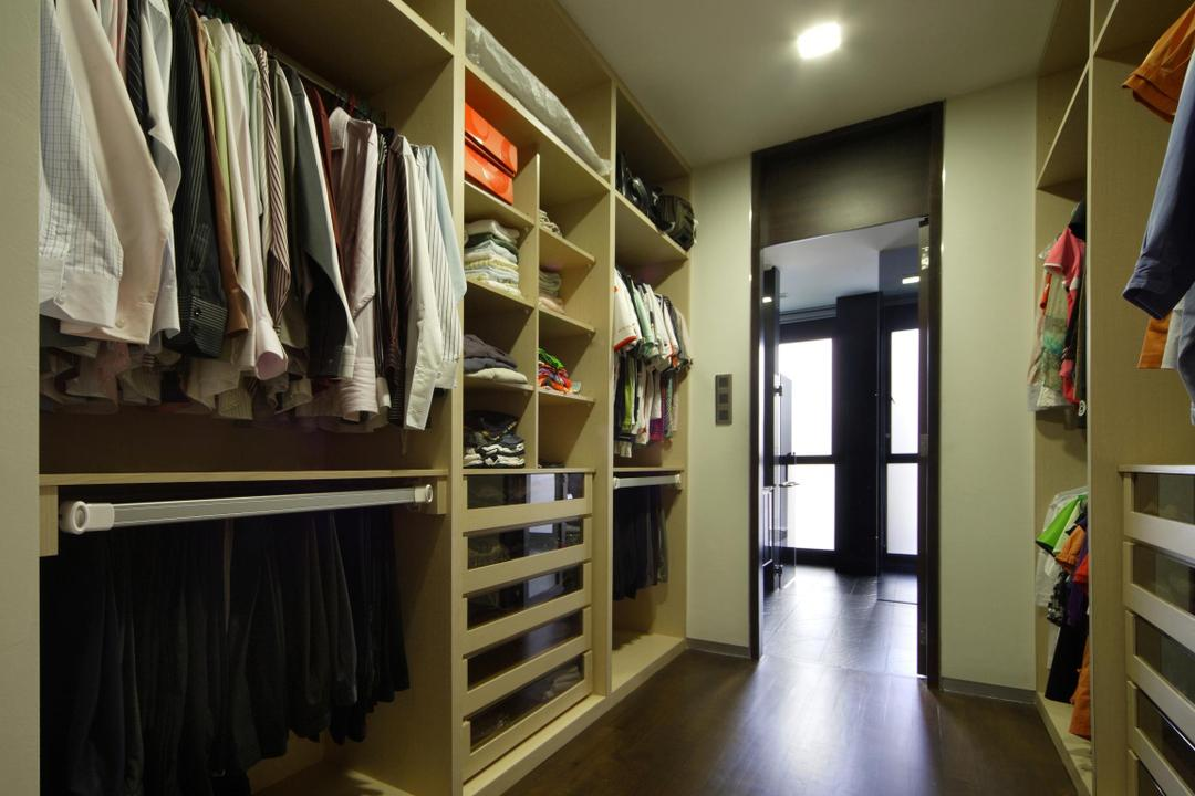 Serangoon Gardens, Fuse Concept, Modern, Bedroom, Landed, Walk In Wardobe, Shelf, Shelves, Drawers, Storage, Parquet, Cubbyholes, Closet, HDB, Building, Housing, Indoors, Loft