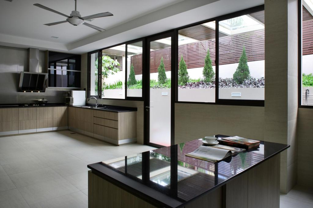 Modern, Landed, Kitchen, Serangoon Gardens, Interior Designer, Fuse Concept, Ceiling Fan, Glass Doors, Exhaust Hood, Wood Laminate, Wood, Laminate, Kitchen Counter, Spacious, Marble Surface, Flooring, Indoors, Interior Design, Room