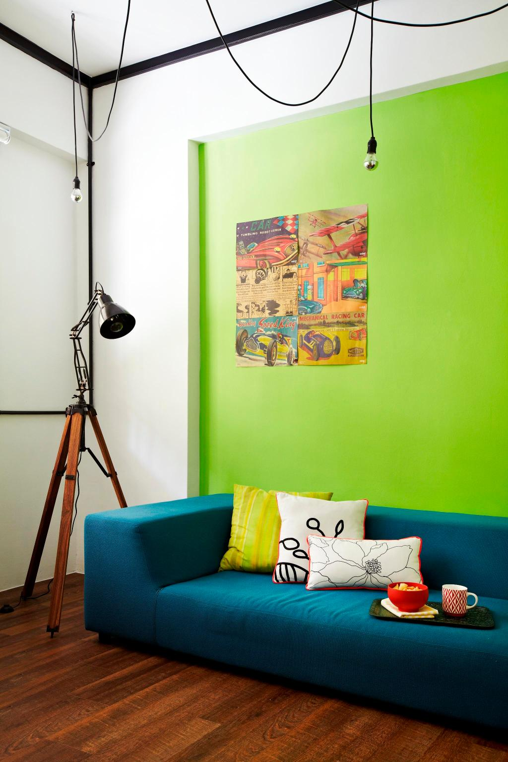 Eclectic, HDB, Living Room, Strathmore Avenue, Interior Designer, Fuse Concept, Parquet, Hanging Light, Standing Lamp, Sofa, Chair, Cushions, Painting, Colorful