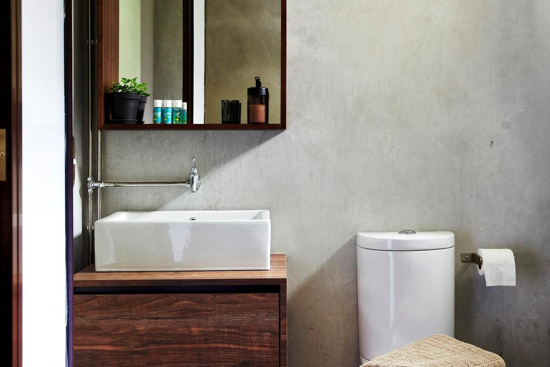 Strathmore Avenue, Fuse Concept, Eclectic, Bathroom, HDB, Rug, Wood, Laminate, Wood Laminate, Vessel Sink, Above Counter Sink, Bathroom Counter, Mirror, Shelf, Shelves, Indoors, Interior Design, Room