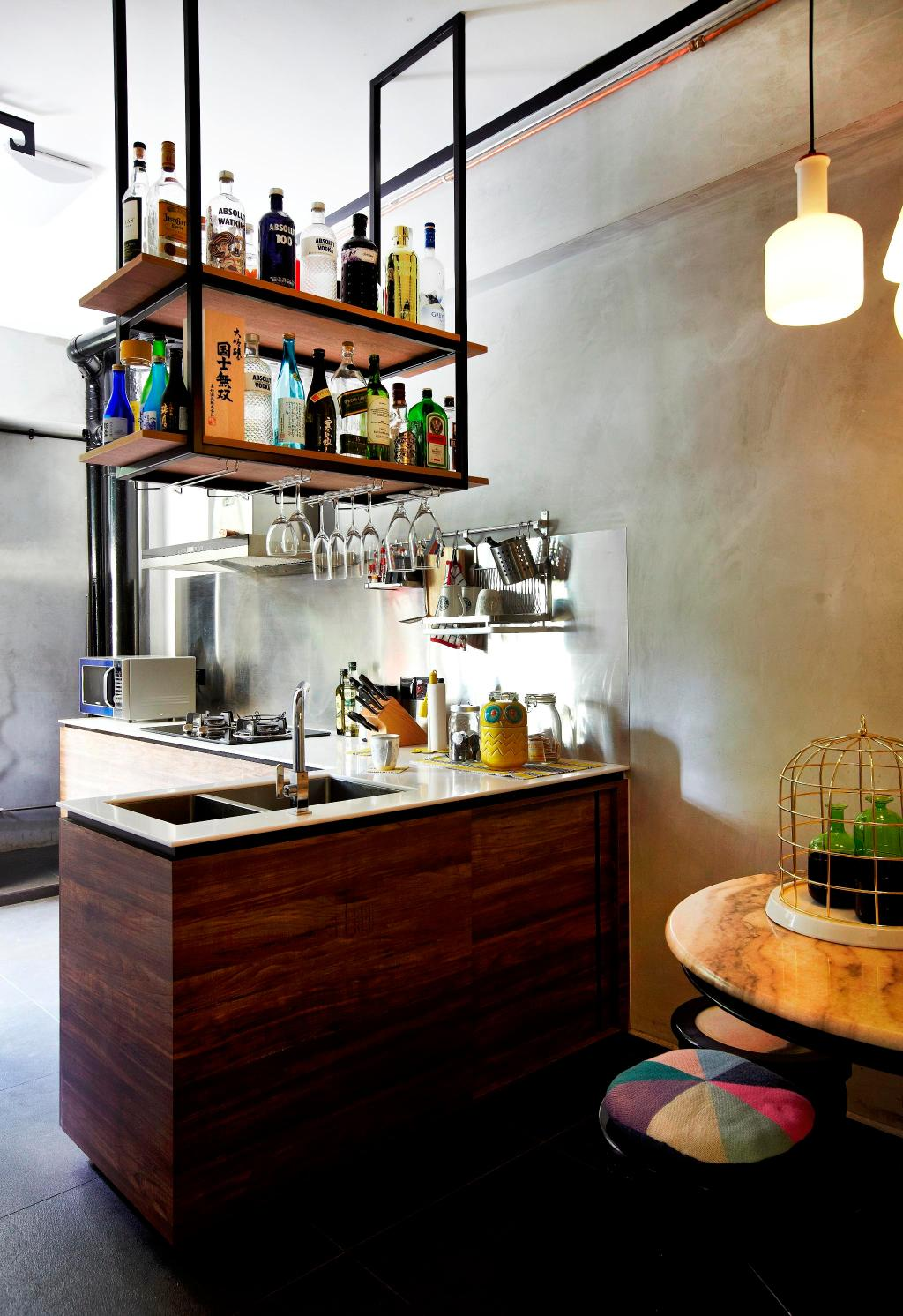 Eclectic, HDB, Kitchen, Strathmore Avenue, Interior Designer, Fuse Concept, Suspended Shelf, Suspended Shelves, Wood Laminate, Wood, Laminate, Kitchen Counter, Hanging Light, Table, Marble Surface, Chair, Stool, Shelf, Shelves