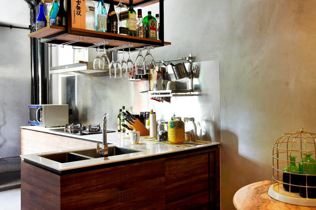 Strathmore Avenue, Fuse Concept, Eclectic, Kitchen, HDB, Suspended Shelf, Suspended Shelves, Wood Laminate, Wood, Laminate, Kitchen Counter, Hanging Light, Table, Marble Surface, Chair, Stool, Shelf, Shelves