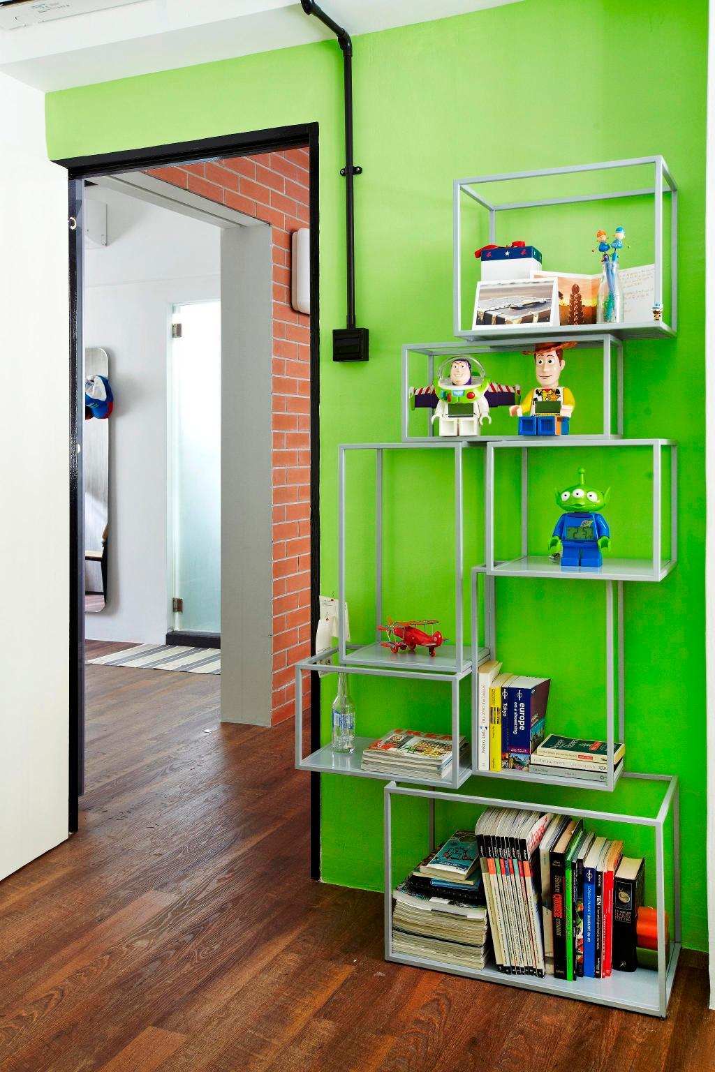 Eclectic, HDB, Living Room, Strathmore Avenue, Interior Designer, Fuse Concept, Display Unit, Book Shelf, Shelves, Shelf, Brick Wall, Raw, Green, Mat, Toy