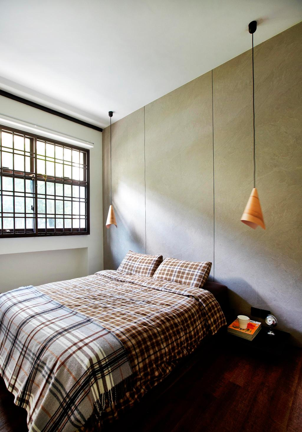 Eclectic, HDB, Bedroom, Strathmore Avenue, Interior Designer, Fuse Concept, Hanging Light, Pendant Light, Parquet, Wall Panels, Marble Wall, Window