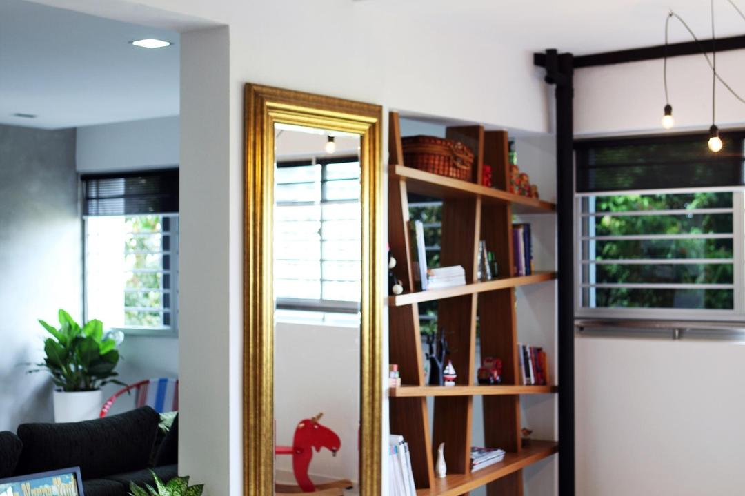Yishun Ring, Fuse Concept, Eclectic, Dining Room, HDB, Dining Table, Gilded Mirror, Mirror, Ful Length Mirror, Cubbyholes, Display Unit, Hanging Light, Pendant Light, Wood Laminate, Wood, Laminate, Plants, Table, Flora, Jar, Plant, Potted Plant, Pottery, Vase, Bookcase, Furniture, Shelf