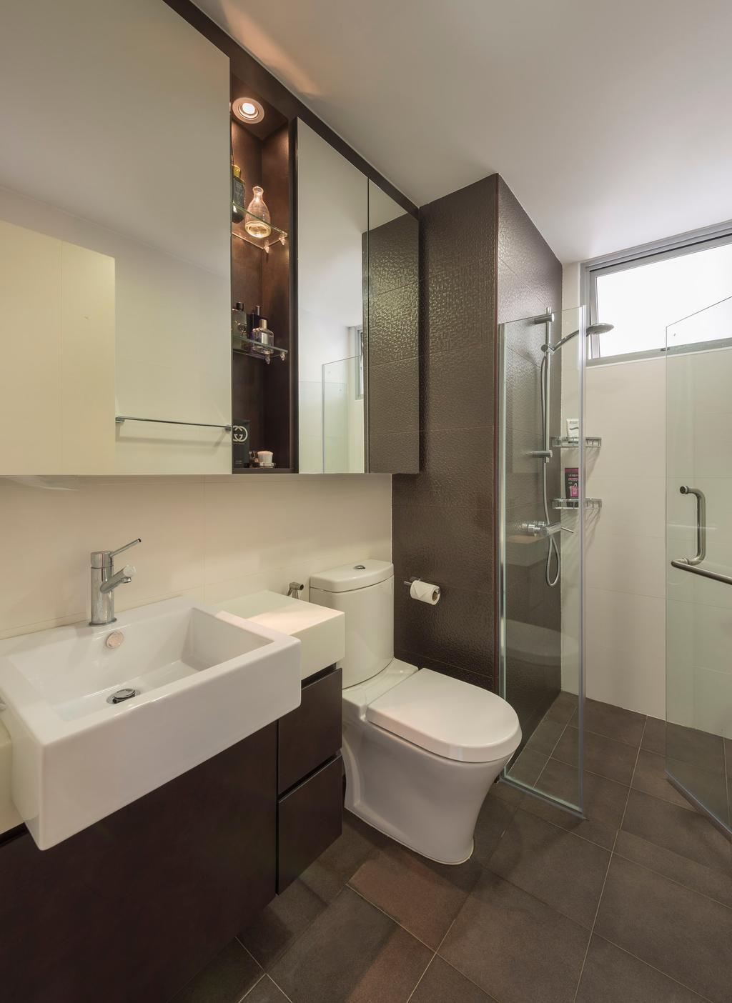 Contemporary, Condo, Bathroom, De Royale, Interior Designer, Space Factor, Bathroom Counter, Glass Cubicle, Mirror, Shelf, Shelves, Vessel Sink, Tile, Tiles, Brown, Indoors, Interior Design, Room