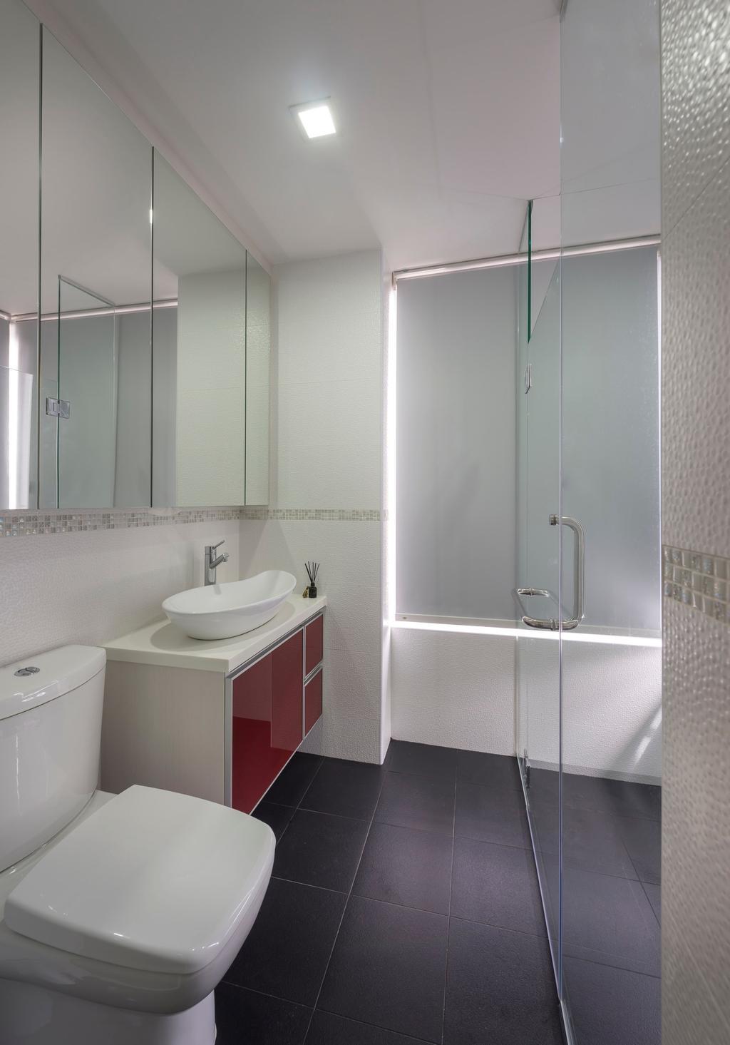 Contemporary, Condo, Bathroom, De Royale, Interior Designer, Space Factor, Tile, Tiles, Blinds, Glass Cubicle, Bathroom Counter, Vessel Sink, Mirror, Mosaic, Mosaic Tiles, White, Indoors, Interior Design, Room, Appliance, Electrical Device, Washer